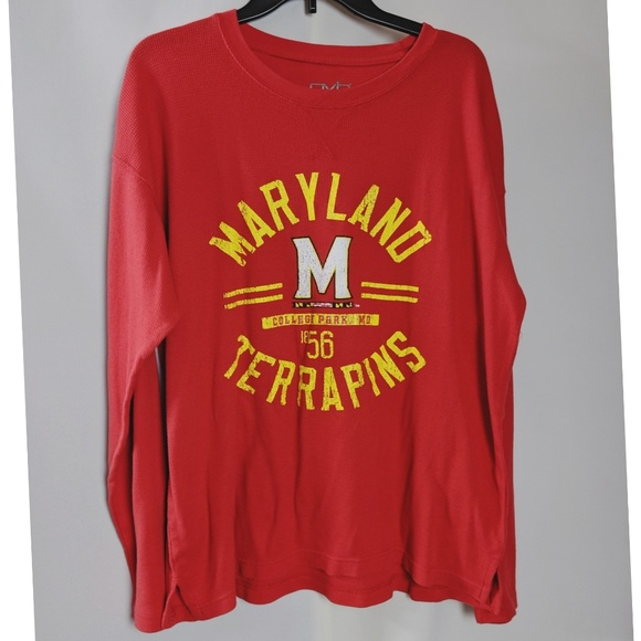 Old Varsity Brand Other - Maryland Terrapins Thermal Waffle Knit Red Shirt
